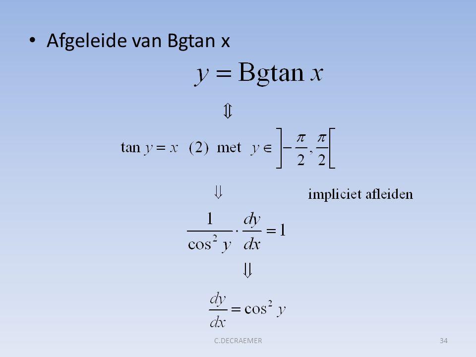 Afgeleide van Bgtan x C.DECRAEMER