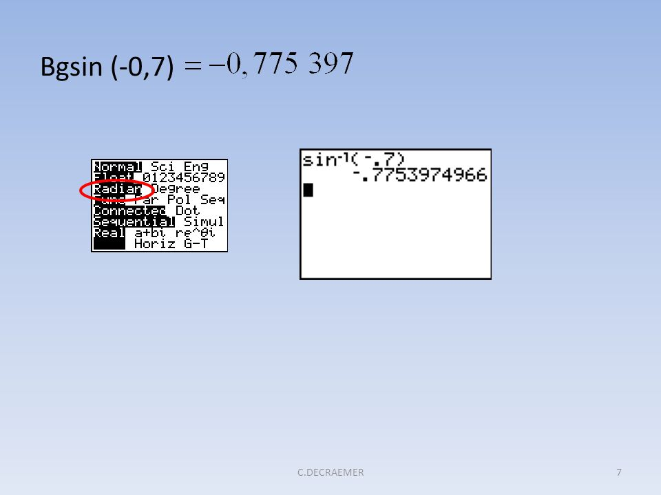 Bgsin (-0,7) C.DECRAEMER