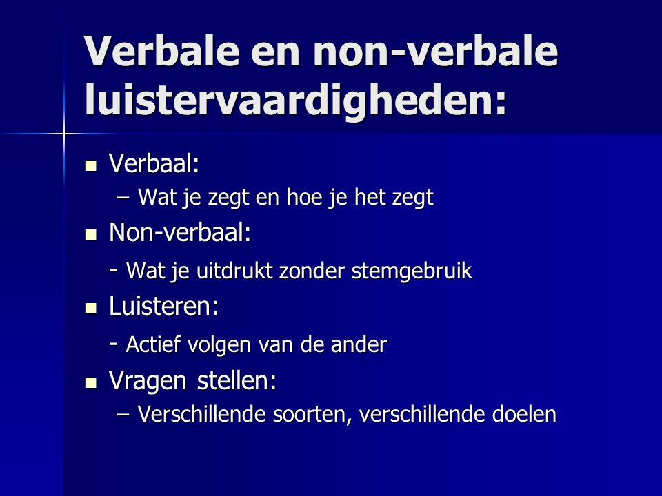 Verbale en non-verbale luistervaardigheden: