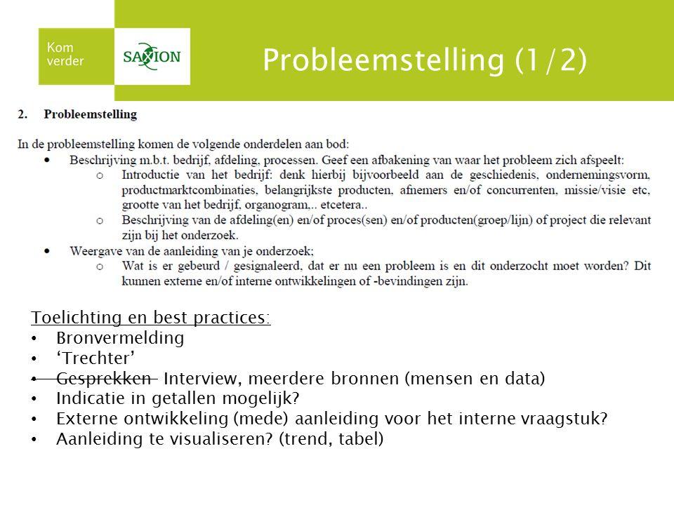 Probleemstelling (1/2) Toelichting en best practices: Bronvermelding