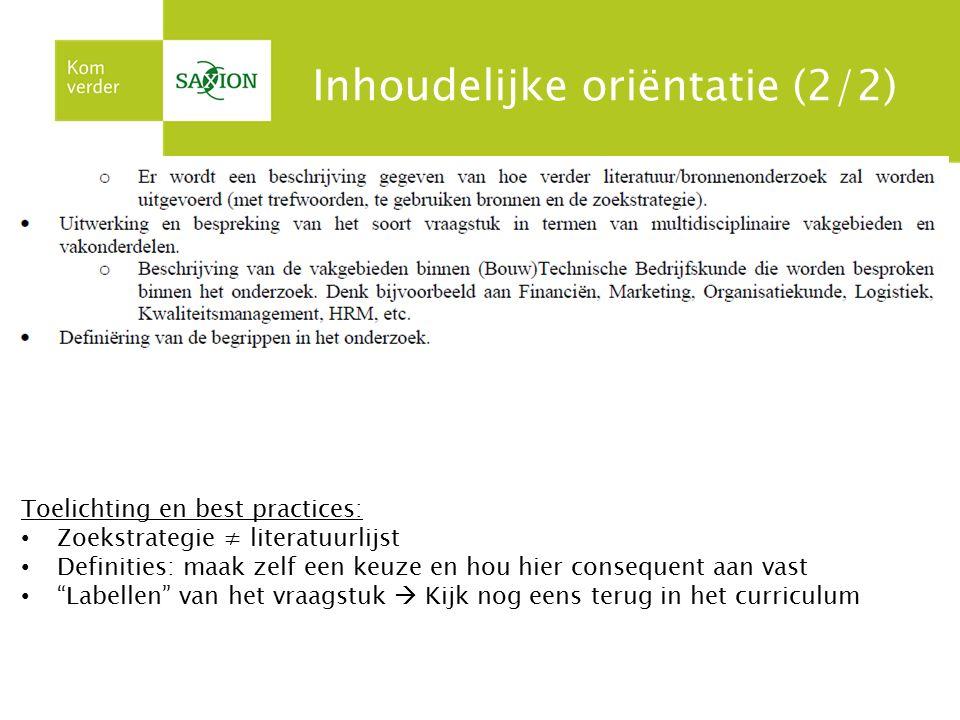 Inhoudelijke oriëntatie (2/2)