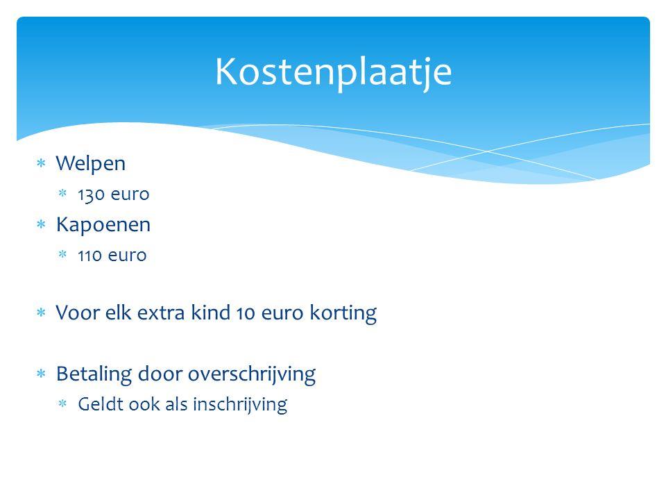 Kostenplaatje Welpen Kapoenen Voor elk extra kind 10 euro korting