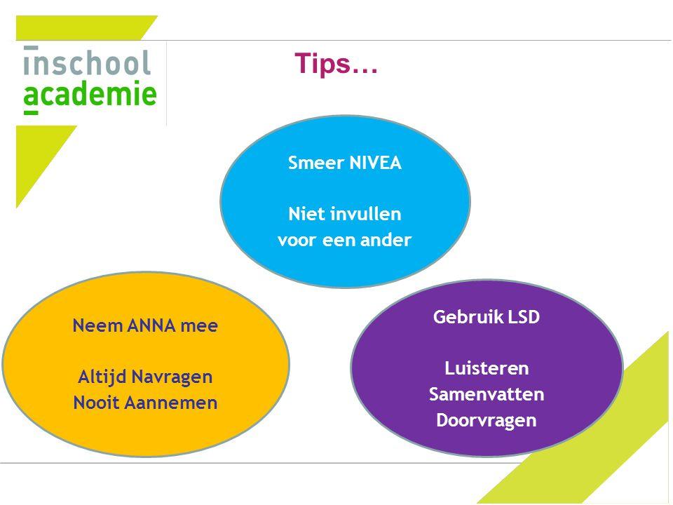 Tips… Smeer NIVEA Niet invullen voor een ander Neem ANNA mee