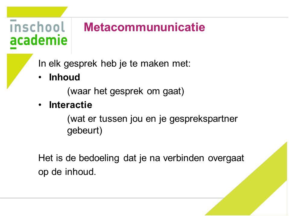 Metacommununicatie In elk gesprek heb je te maken met: Inhoud
