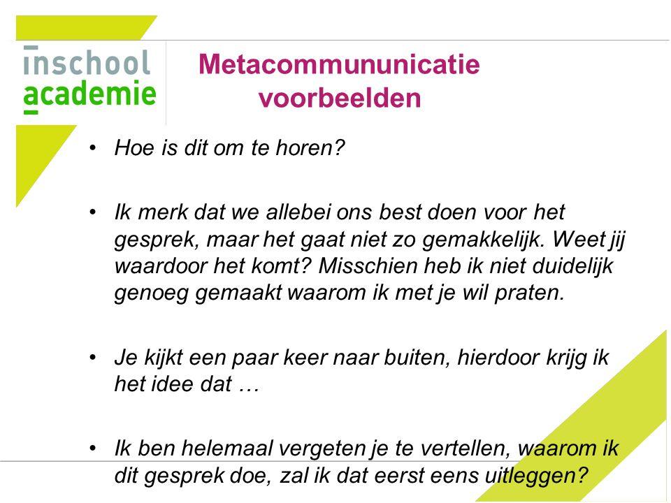 Metacommununicatie voorbeelden