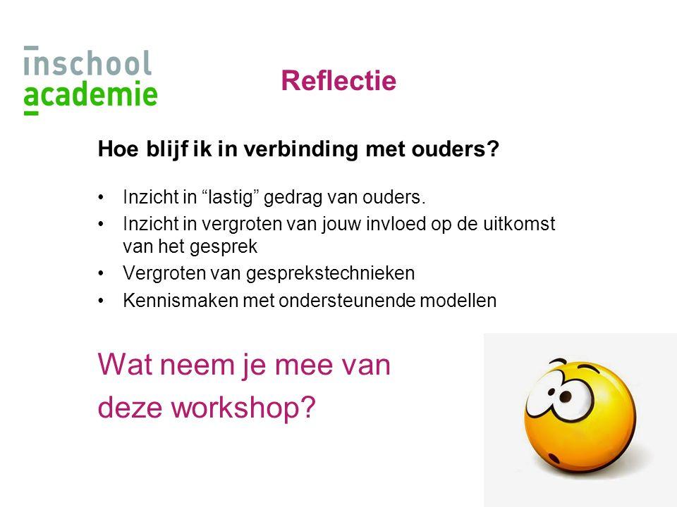 Wat neem je mee van deze workshop Reflectie