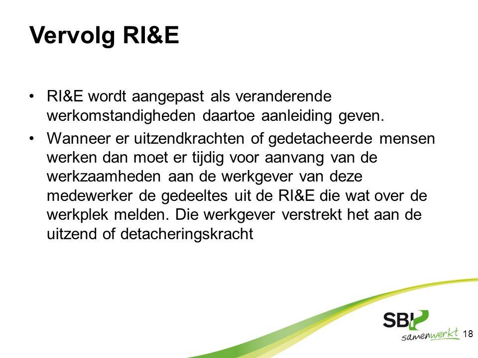 Vervolg RI&E RI&E wordt aangepast als veranderende werkomstandigheden daartoe aanleiding geven.