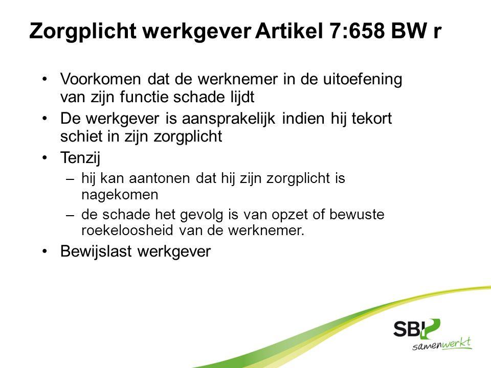 Zorgplicht werkgever Artikel 7:658 BW r