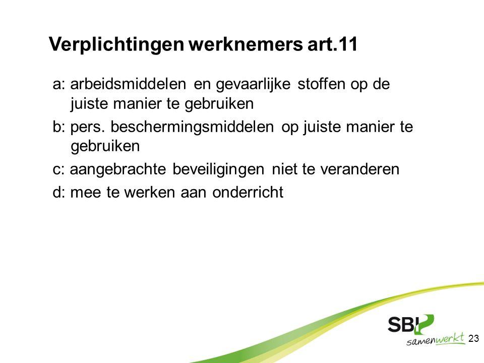 Verplichtingen werknemers art.11