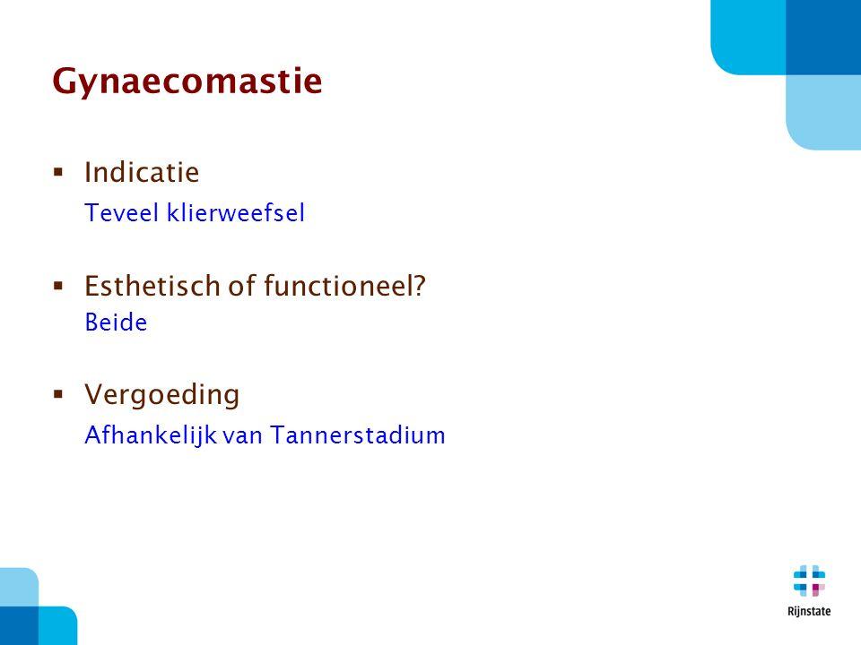 Gynaecomastie Indicatie Teveel klierweefsel Esthetisch of functioneel
