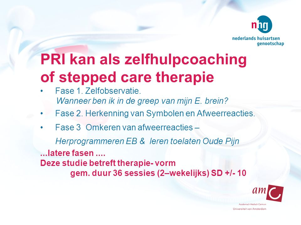 PRI kan als zelfhulpcoaching of stepped care therapie