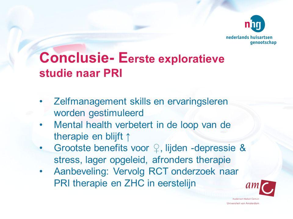 Conclusie- Eerste exploratieve studie naar PRI
