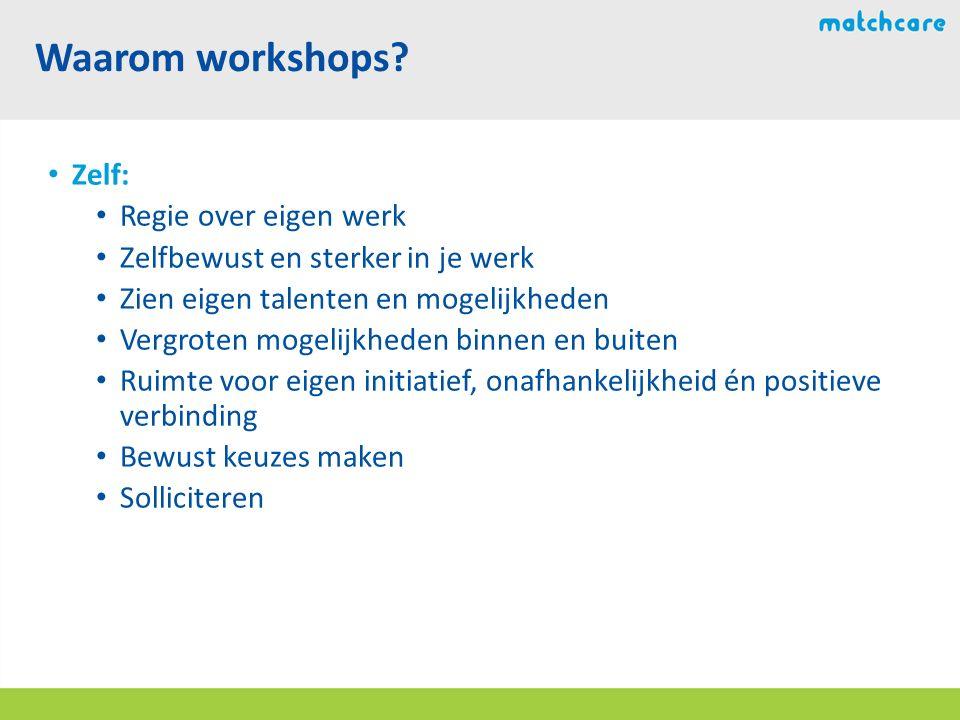Waarom workshops Zelf: Regie over eigen werk