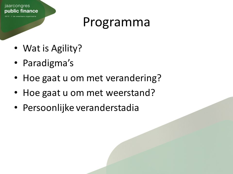 Programma Wat is Agility Paradigma's Hoe gaat u om met verandering