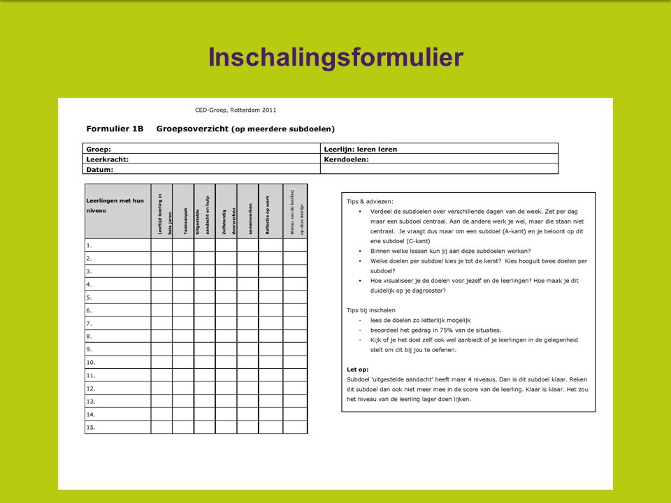 5. Vanuit de inschaling worden de kinderen ingevoerd in de PO-planner.