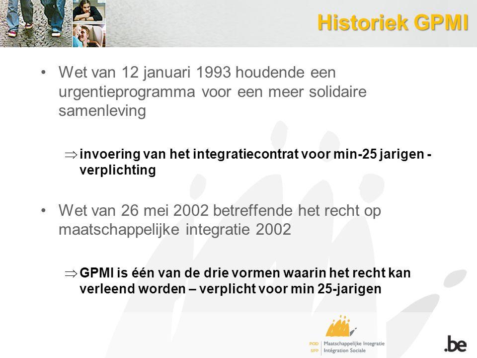 Historiek GPMI Wet van 12 januari 1993 houdende een urgentieprogramma voor een meer solidaire samenleving.