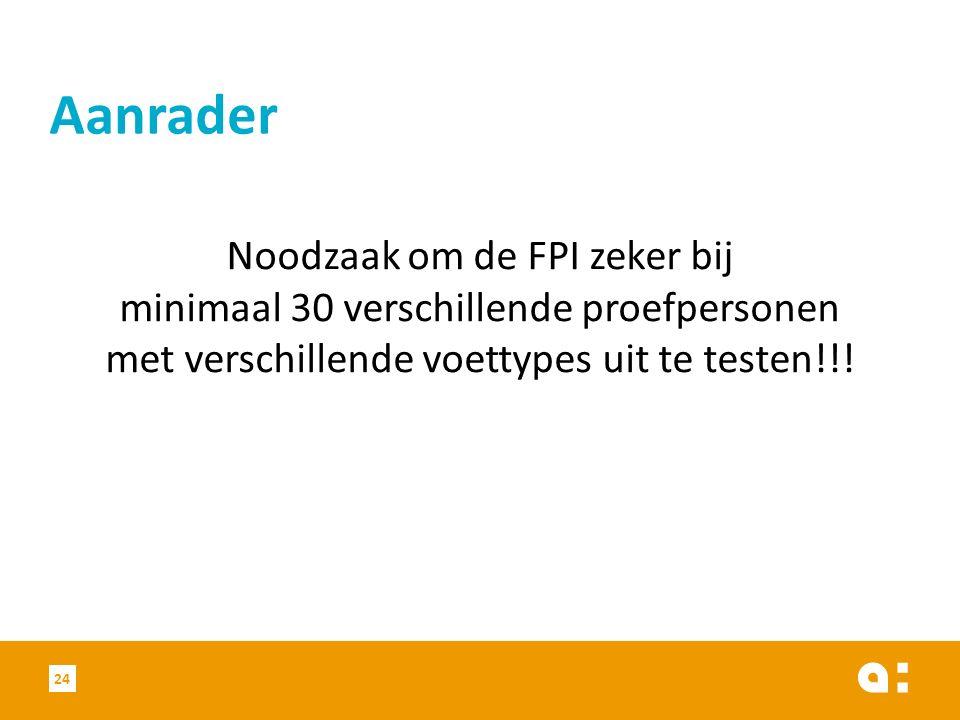 Aanrader Noodzaak om de FPI zeker bij minimaal 30 verschillende proefpersonen met verschillende voettypes uit te testen!!!