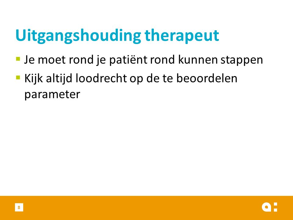 Uitgangshouding therapeut