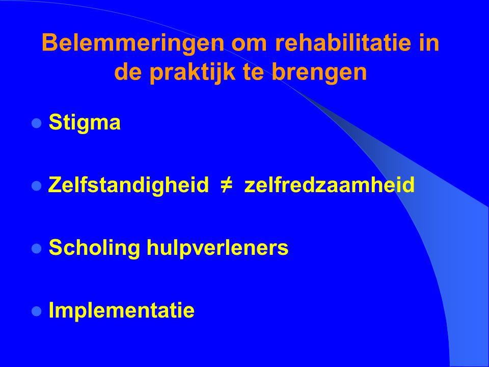 Belemmeringen om rehabilitatie in de praktijk te brengen