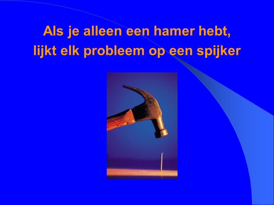 Als je alleen een hamer hebt, lijkt elk probleem op een spijker