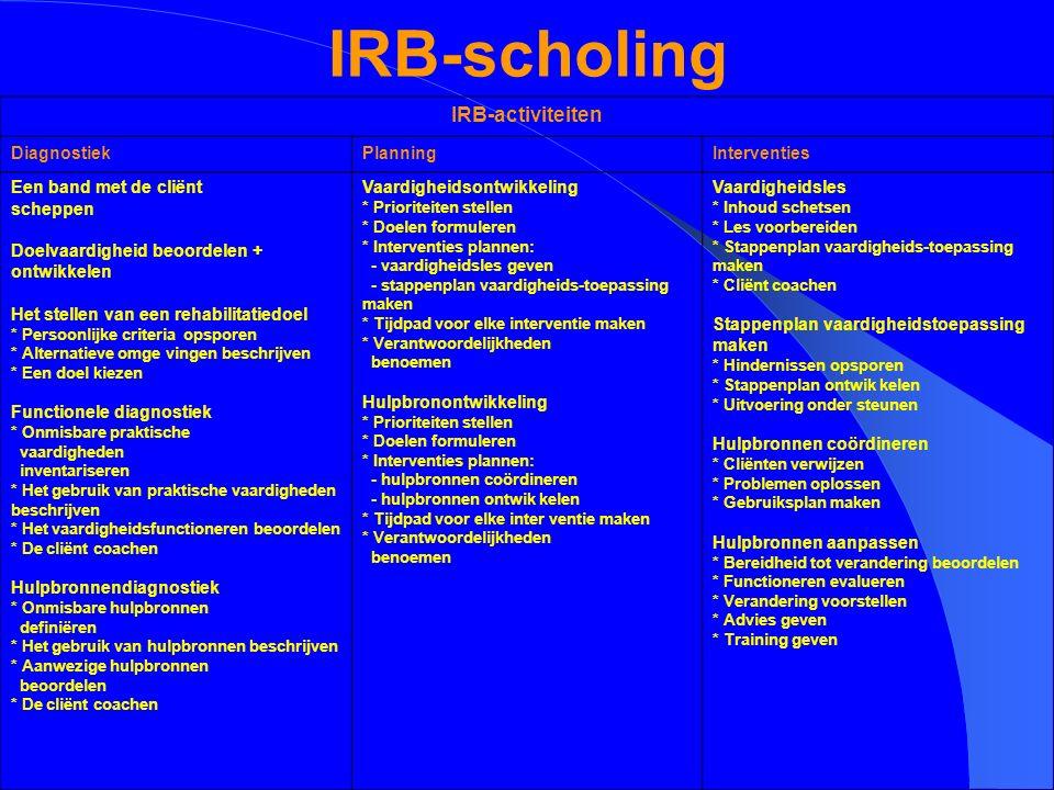 IRB-scholing IRB-activiteiten Diagnostiek Planning Interventies