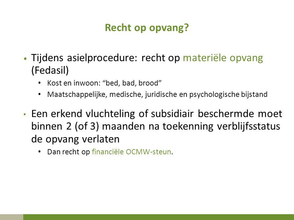 Tijdens asielprocedure: recht op materiële opvang (Fedasil)
