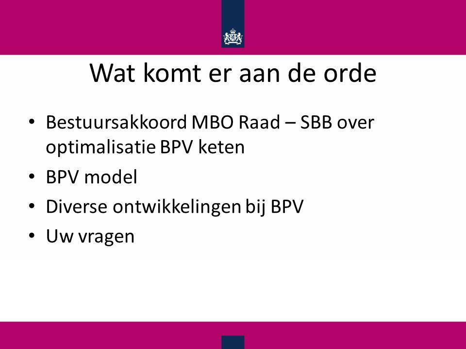 Wat komt er aan de orde Bestuursakkoord MBO Raad – SBB over optimalisatie BPV keten. BPV model. Diverse ontwikkelingen bij BPV.