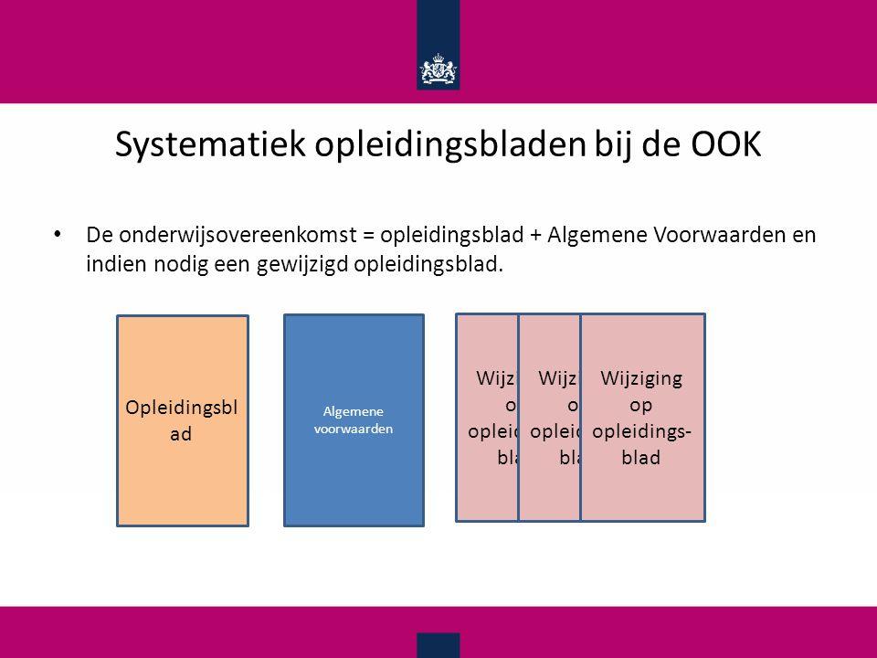 Systematiek opleidingsbladen bij de OOK