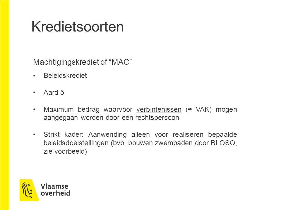 Kredietsoorten Machtigingskrediet of MAC Beleidskrediet Aard 5
