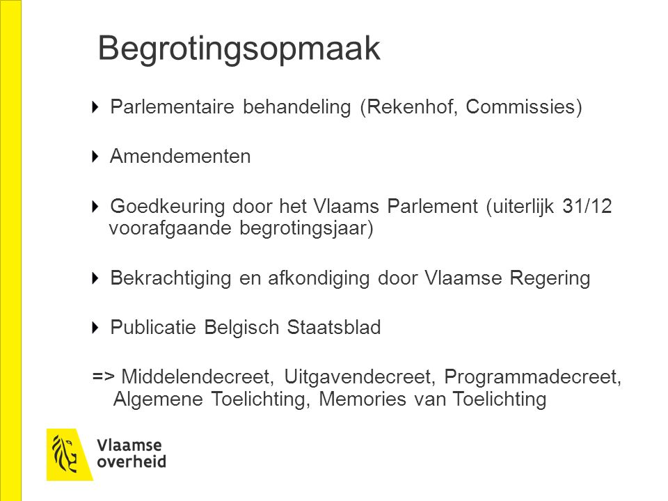 Begrotingsopmaak Parlementaire behandeling (Rekenhof, Commissies)