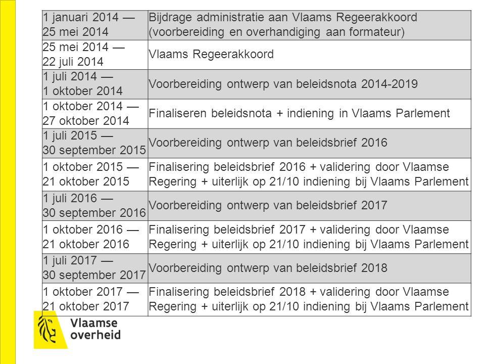 1 januari 2014 — 25 mei 2014 Bijdrage administratie aan Vlaams Regeerakkoord (voorbereiding en overhandiging aan formateur)