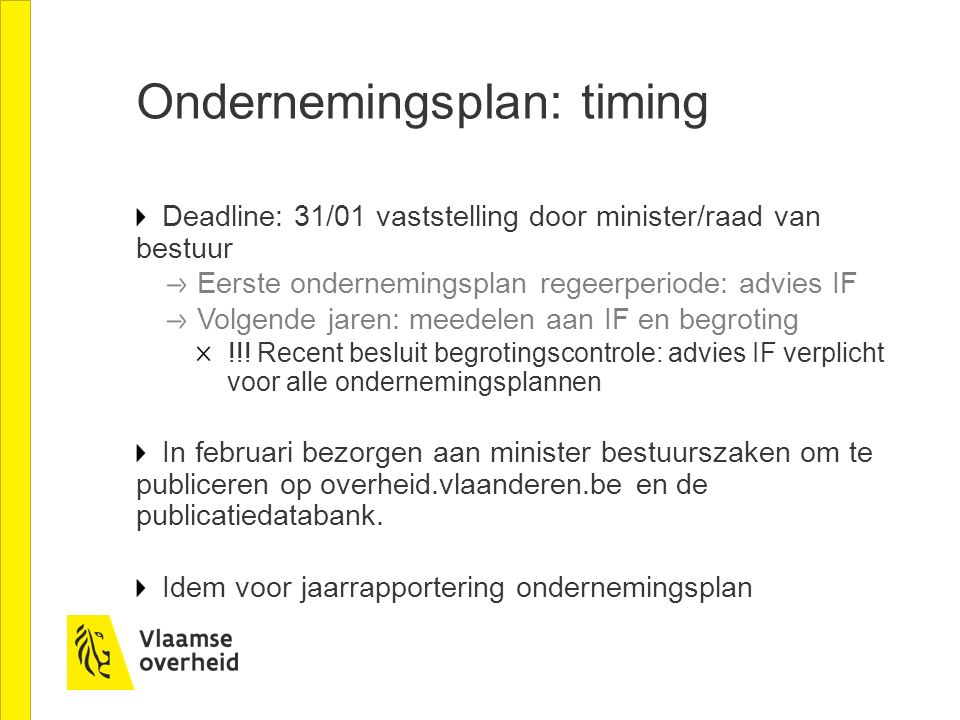 Ondernemingsplan: timing