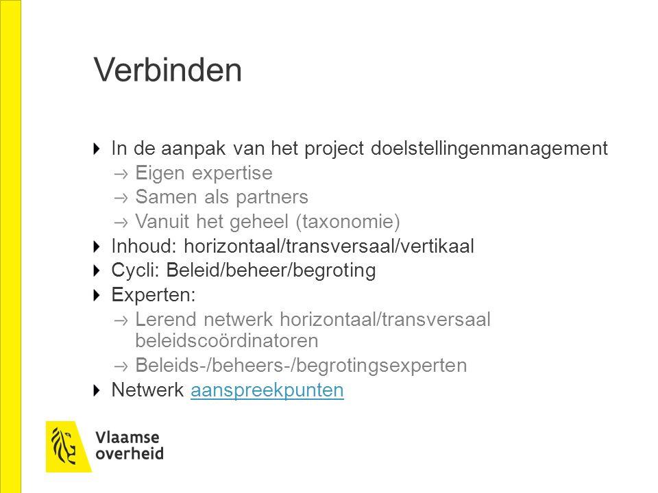 Verbinden In de aanpak van het project doelstellingenmanagement