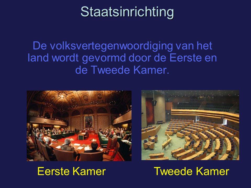 Staatsinrichting De volksvertegenwoordiging van het land wordt gevormd door de Eerste en de Tweede Kamer.