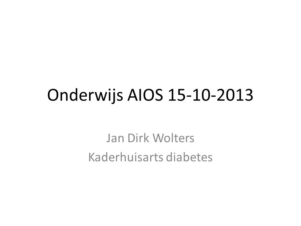 Jan Dirk Wolters Kaderhuisarts diabetes