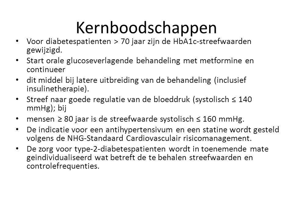 Kernboodschappen Voor diabetespatienten > 70 jaar zijn de HbA1c-streefwaarden gewijzigd.