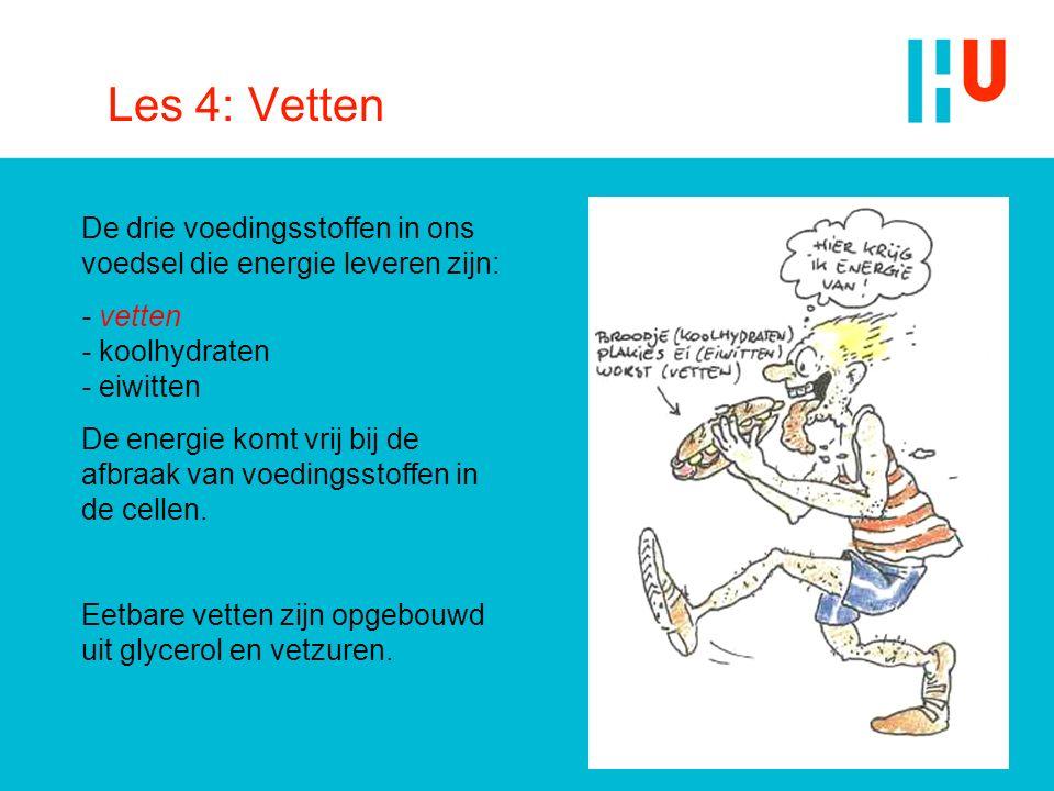 Les 4: Vetten De drie voedingsstoffen in ons voedsel die energie leveren zijn: - vetten - koolhydraten - eiwitten.
