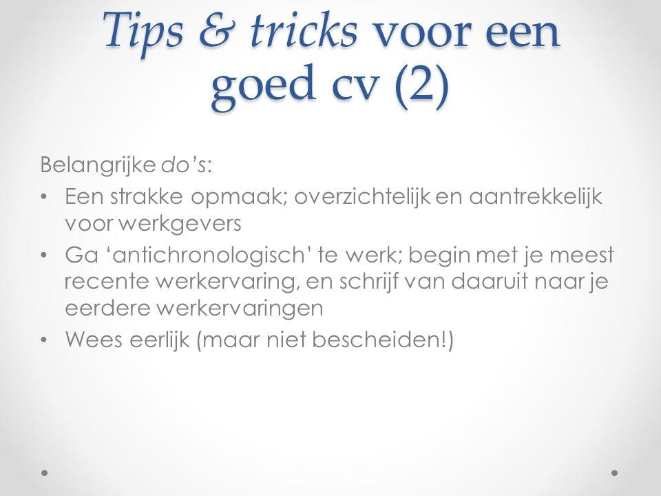 Tips & tricks voor een goed cv (2)