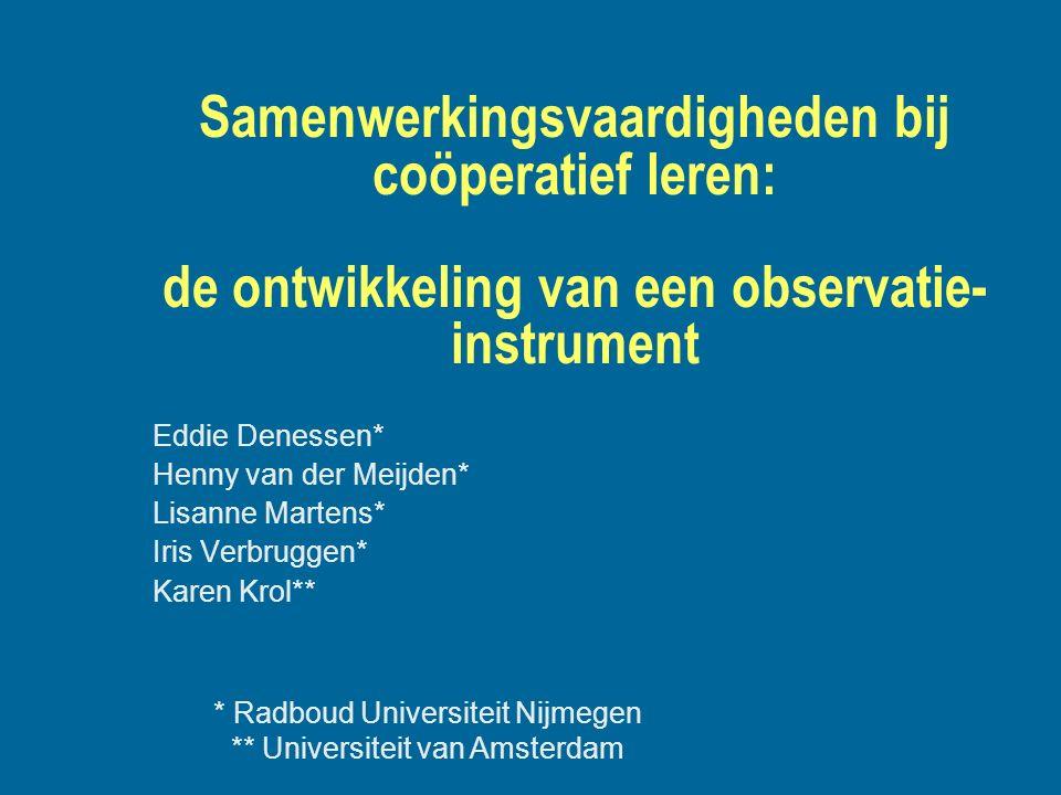 Samenwerkingsvaardigheden bij coöperatief leren: de ontwikkeling van een observatie-instrument