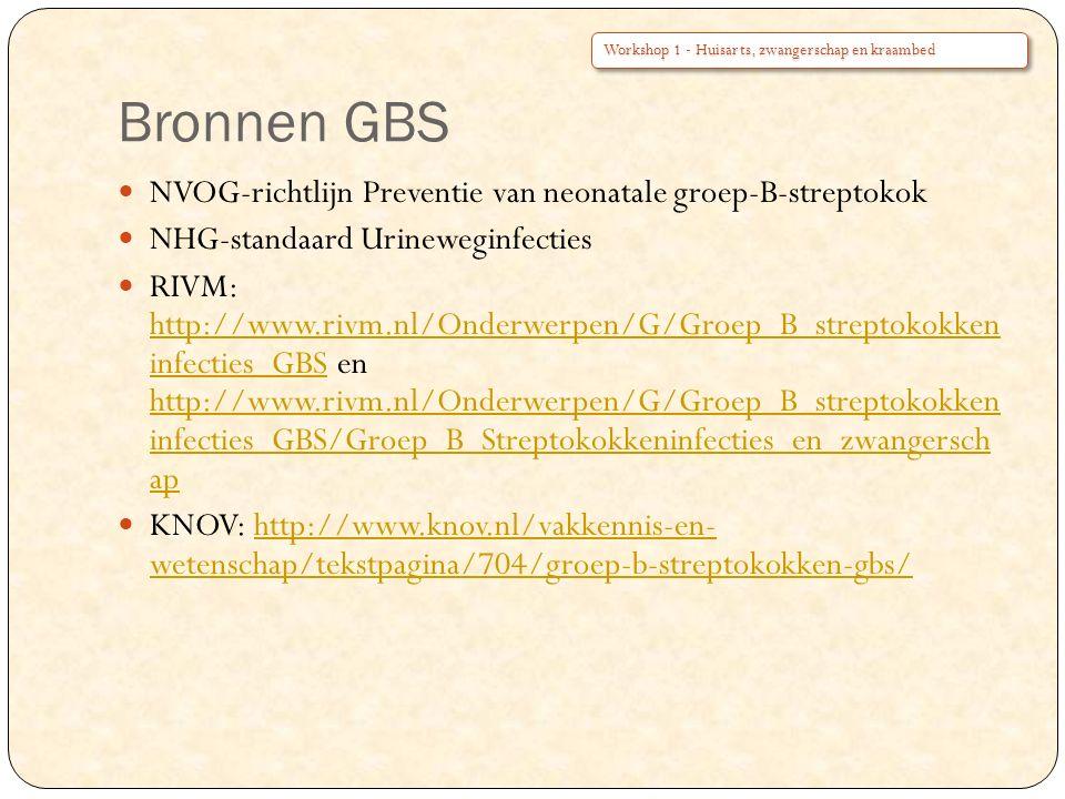 Bronnen GBS NVOG-richtlijn Preventie van neonatale groep-B-streptokok