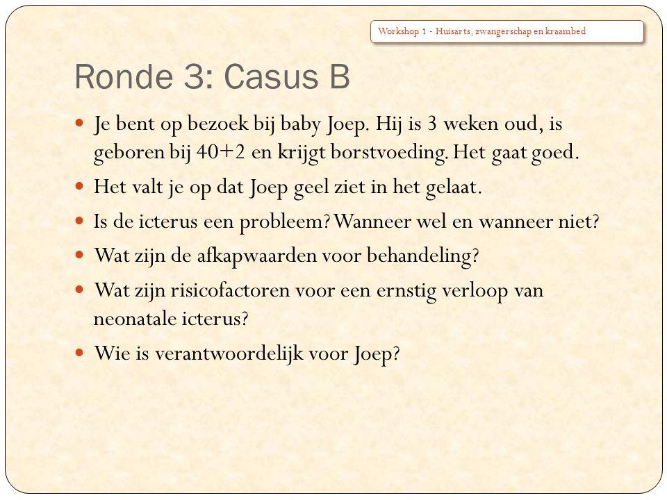 Ronde 3: Casus B Workshop 1 - Huisarts, zwangerschap en kraambed.