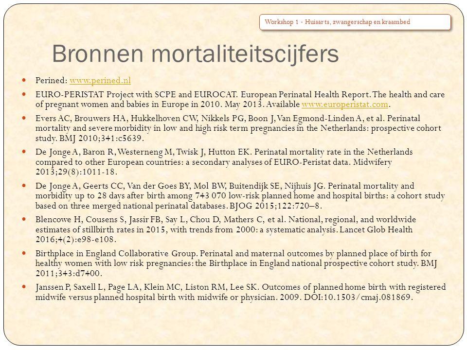 Bronnen mortaliteitscijfers