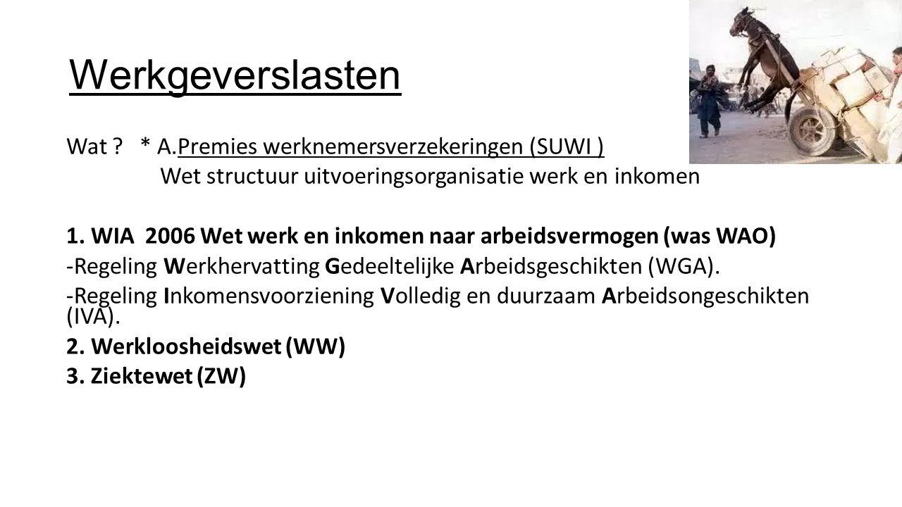 Werkgeverslasten Wat * A.Premies werknemersverzekeringen (SUWI )