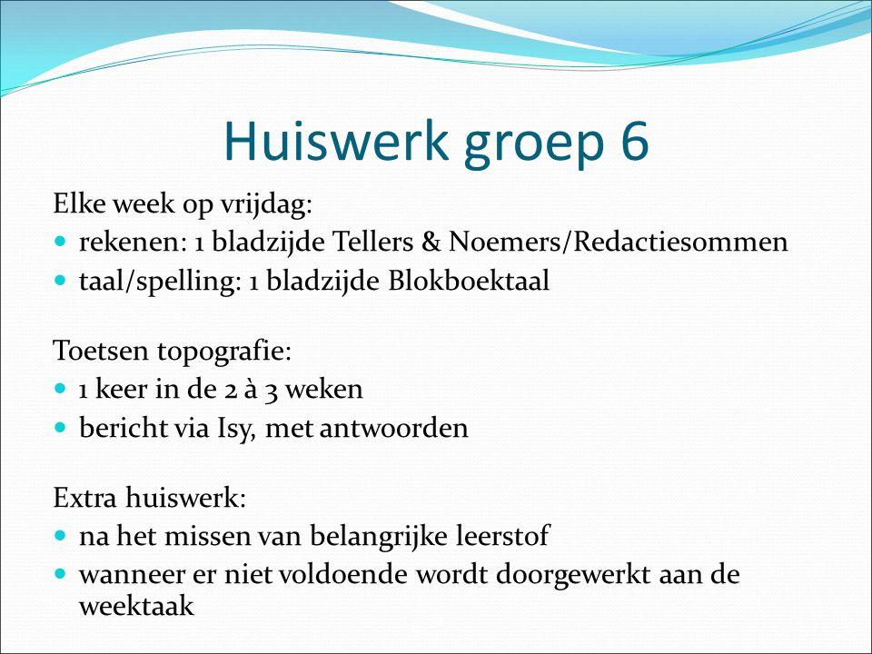 Huiswerk groep 6 Elke week op vrijdag: