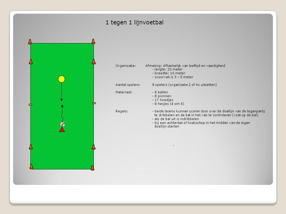 1 tegen 1 lijnvoetbal Organisatie: Afmeting: Afhankelijk van leeftijd en vaardigheid. - lengte: 20 meter.