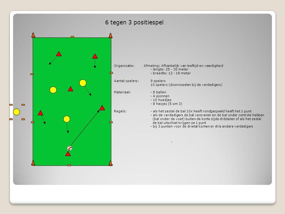 6 tegen 3 positiespel Organisatie: Afmeting: Afhankelijk van leeftijd en vaardigheid. - lengte: 25 - 30 meter.