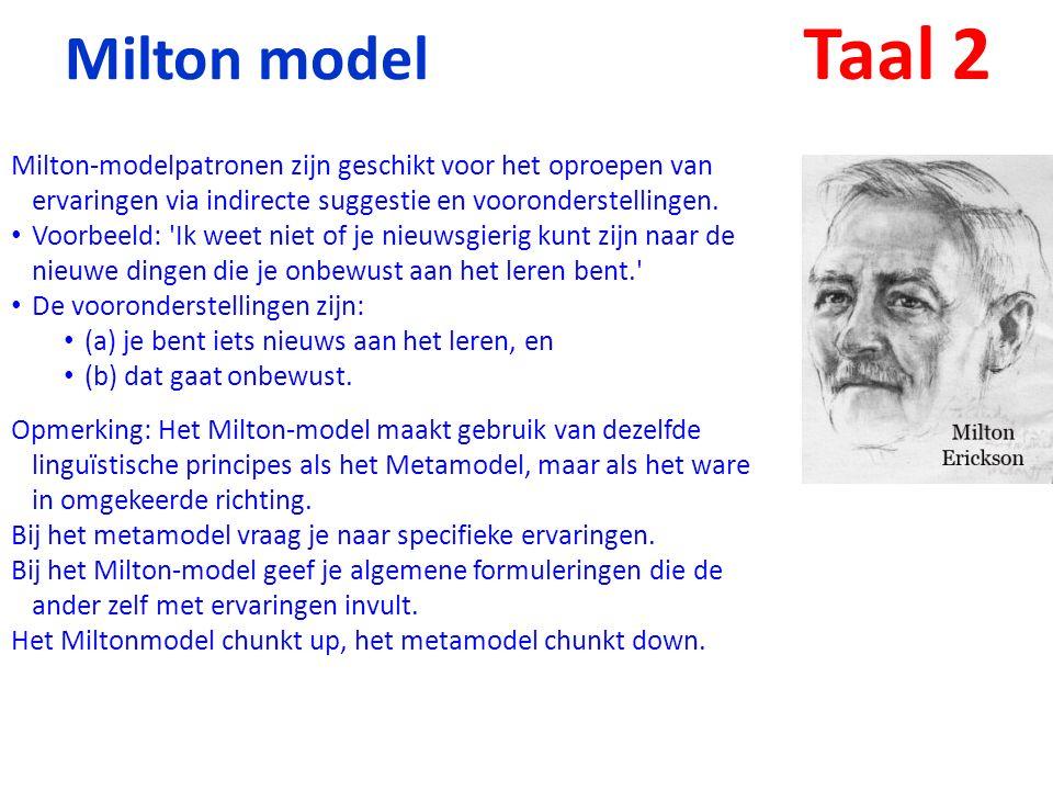 Taal 2 Milton model. Milton-modelpatronen zijn geschikt voor het oproepen van ervaringen via indirecte suggestie en vooronderstellingen.