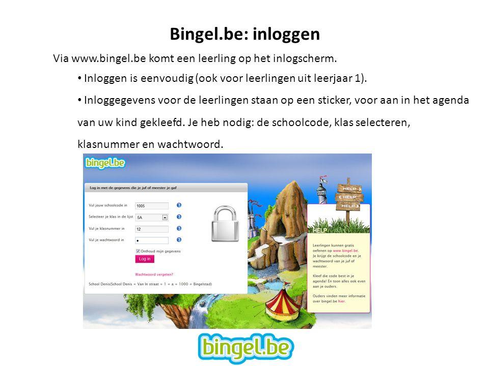 Bingel.be: inloggen Via www.bingel.be komt een leerling op het inlogscherm. Inloggen is eenvoudig (ook voor leerlingen uit leerjaar 1).