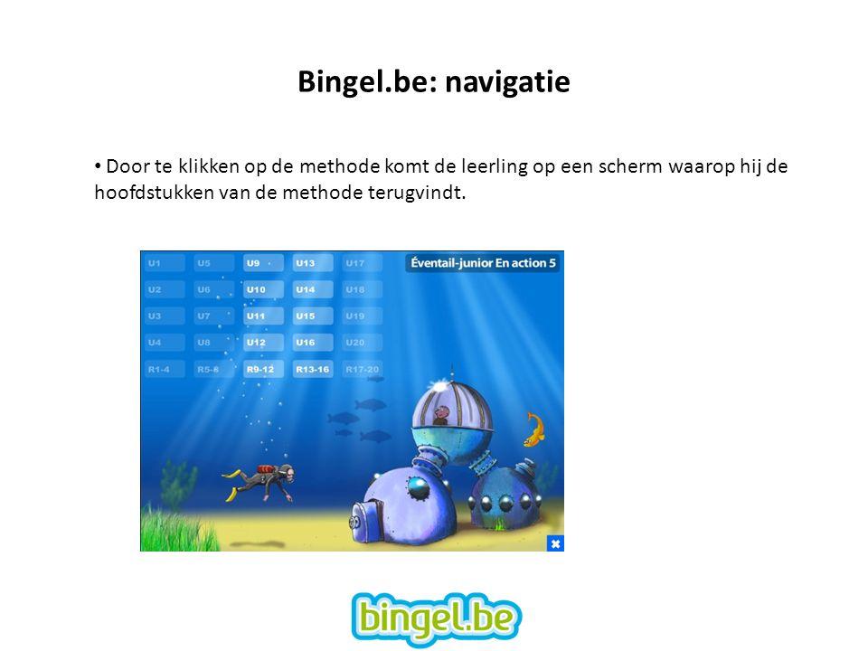 Bingel.be: navigatie Door te klikken op de methode komt de leerling op een scherm waarop hij de hoofdstukken van de methode terugvindt.