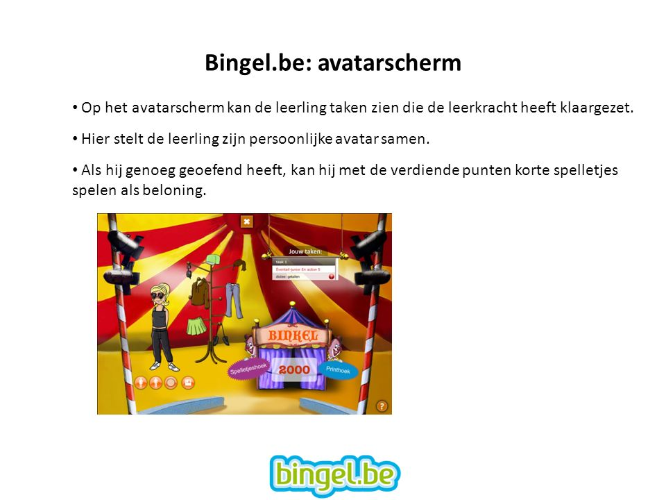 Bingel.be: avatarscherm